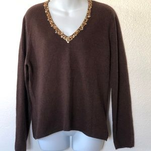 McDuff 100% Cashmere Sweater Vneck XL Brown Sequin